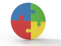 Pezzi variopinti del puzzle isolati su fondo bianco. Concetto di lavoro di squadra di affari. illustrazione di stock