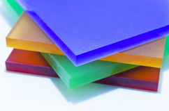 Pezzi variopinti di plexiglass Fotografia Stock