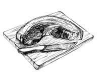 Pezzo crudo fresco della carne di maiale di schizzo Pancia di carne di maiale affettata disegnata a mano sul bordo di legno illustrazione vettoriale