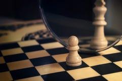 Pezzo degli scacchi nello specchio Immagine Stock