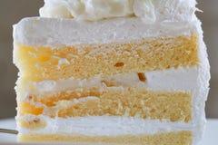 Pezzo del primo piano di dolce di noce di cocco sulla tavola di legno Fuoco selettivo Fotografie Stock Libere da Diritti