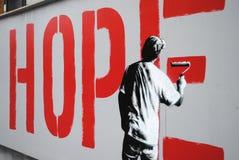 Pezzo di arte della via di speranza Immagini Stock Libere da Diritti