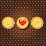 Pezzo di biscotto con le parole ti amo Immagine Stock