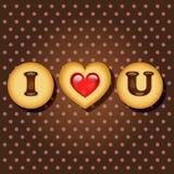 Pezzo di biscotto con le parole ti amo Immagini Stock Libere da Diritti