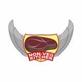 Pezzo di bistecca arrostita della carne Logo per i piatti della carne del servizio del ristorante o del caffè Cucina senza verdur Fotografie Stock