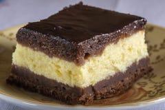 Pezzo di brownie della torta di formaggio del cioccolato Fotografie Stock Libere da Diritti
