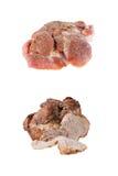 Pezzo di carne di maiale prima e dopo cucinare Immagini Stock