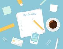Pezzo di carta con il piano il vostri segno di giorno, tazza di caffè di mattina ed oggetti della cancelleria Controllo della vos Fotografie Stock Libere da Diritti