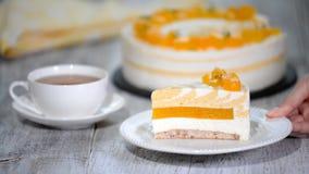 Pezzo di dolce Mango-cremoso archivi video