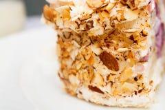 Pezzo di dolce su un piatto bianco Immagini Stock Libere da Diritti