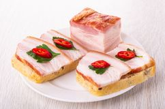 Pezzo di petto, panini con il petto, peperoncino, prezzemolo in piatto sulla tavola immagine stock
