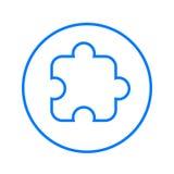 Pezzo di puzzle, linea circolare alimentabile icona Segno variopinto rotondo Simbolo piano di vettore di stile Immagine Stock Libera da Diritti
