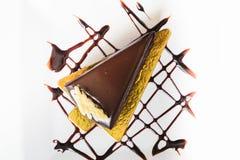 Pezzo di vista superiore di dolce di cioccolato Immagine Stock Libera da Diritti