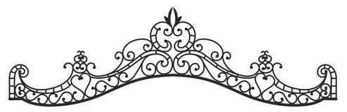 Pezzo fucinato artistico, il nero, ornamento floreale Immagine Stock
