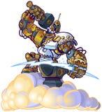 Pezzo fucinato del robot di Dio del Greco che accende Bolt su una nuvola Immagini Stock