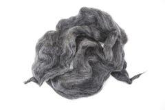 Pezzo grigio di primo piano merino della razza della lana australiana delle pecore su un fondo bianco Fotografia Stock Libera da Diritti