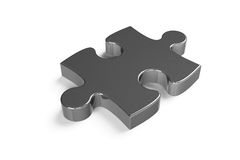 Pezzo metallico di puzzle Fotografie Stock Libere da Diritti