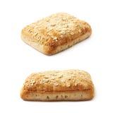 Pezzo singolo del panino del pane isolato Immagine Stock