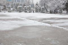 Pfützen und slushy Schnee mit Abdrücken Lizenzfreie Stockfotografie
