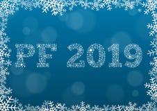 PF 2019 - белый текст сделанный из снежинок на предпосылке с bokeh иллюстрация штока