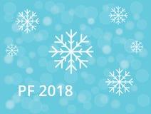 PF 2018 с снежинкой и голубыми снегом bokeh и предпосылкой колец бесплатная иллюстрация