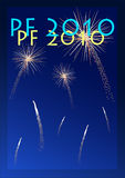 PF 2010. Happy new year 2010, with fireworks Royalty Free Stock Image
