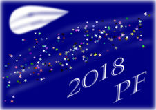 PF 2018 with abstract moon on blue background. The poster 2018 with abstract moon on blue background and with stars vector illustration