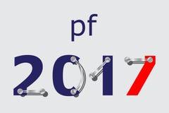 PF 2017 - Blau, rot mit Platten und Schrauben Lizenzfreie Stockfotos