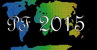 Pf 2015 card. New year's spectrum coloured beads card with world vector illustration