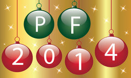 PF 2014. Christmas balls with wish new year 2014 Royalty Free Stock Photos