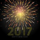 Happy New Year 2017. Text in dot style  illustration on fireworks background Royalty Free Stock Photography