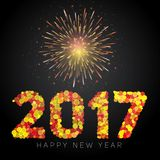 Happy New Year, 2017. Happy New Year 2017, text in dot style  illustration on fireworks background Royalty Free Stock Images