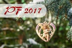 PF 2017 - cuore con l'angelo, decorazione di Natale Fotografia Stock Libera da Diritti