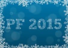 PF 2015 gjorde av snöflingor på mörker - blå bakgrund Royaltyfria Foton