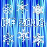 PF 2016 greeting background with white snowflakes on blue pixel designed area. Eps 10 vector Royalty Free Stock Photography