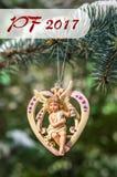PF 2017 - Hart met engel, Kerstmisdecoratie Stock Fotografie