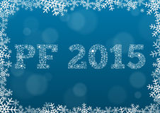 PF 2015 made of snowflakes on dark blue background. Happy new year (PF - Pour feliciter) 2015 made of snowflakes on dark blue background in snowflake border Royalty Free Stock Photos