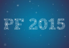 PF 2015 made of snowflakes. PF - Pour féliciter 2015, Happy new year card with text made of snowflakes Stock Image