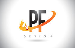 PF P F Letter Logo with Fire Flames Design and Orange Swoosh. PF P F Letter Logo Design with Fire Flames and Orange Swoosh Vector Illustration Stock Photos