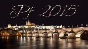 PF-Panorama 2015 von Prag-Schloss Stockfotos