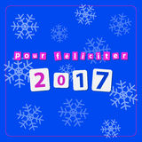 Pf 2017 - text with snowflakes. Pf card, new year 2017 - text with snowflakes on a blue background vector illustration