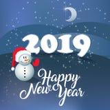 PF 2019 vierta el féliciter Feliz Año Nuevo Muñeco de nieve fotos de archivo