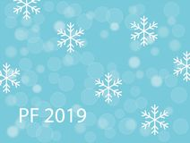 PF 2019 with white snow flakes and snow ballson turquoise blue christmas background. Vector EPS 10 stock illustration