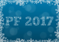 PF 2017 - white text made of snowflakes on background with bokeh. PF (Pour Feliciter, Happy new year) 2017 - white text made of snowflakes on background with Stock Illustration