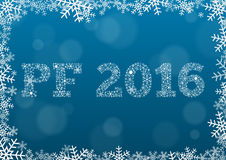 PF 2016 - white text made of snowflakes on background with bokeh Royalty Free Stock Photos