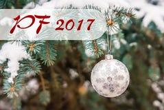 PF 2017 - Zilveren Kerstmisbal op een snow-covered tak Stock Foto