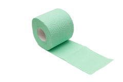 Pfad des entrollten grünen Toilettenpapiers Stockfotografie
