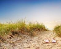 Pfad durch die Dünen zum auf den Strand zu setzen lizenzfreie stockfotografie
