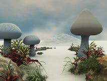 Pfad-Feld -- Land der riesigen Pilze stock abbildung