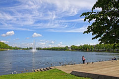 Pfaffenteich lake in Schwerin city, Germany Royalty Free Stock Photography